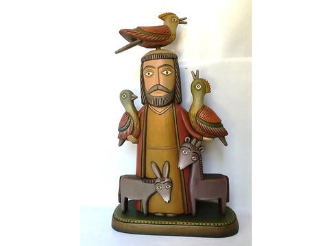 Woodcarving - Saint Francis with birds and animals