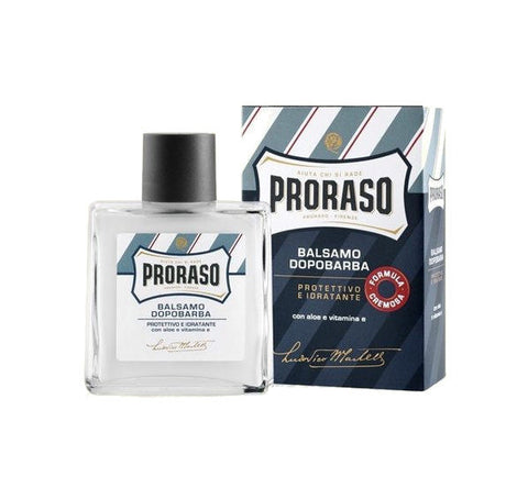 "Proraso ""Blue"" Aftershave Balm - Aloe and Vitamin E - 100ml. Glass Bottle"