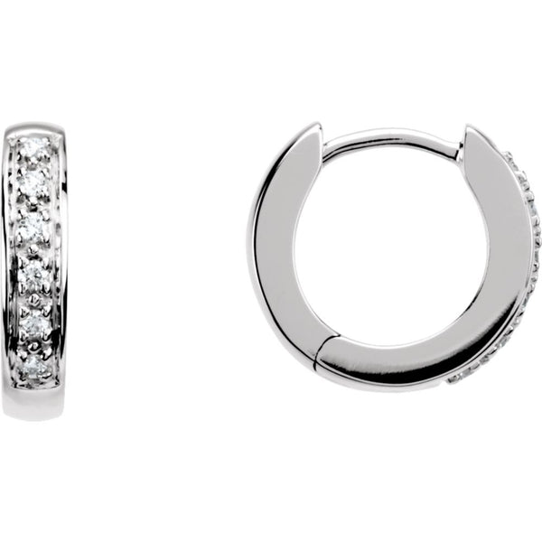 14k White Gold 1/10 CTW Diamond Hoop Earrings