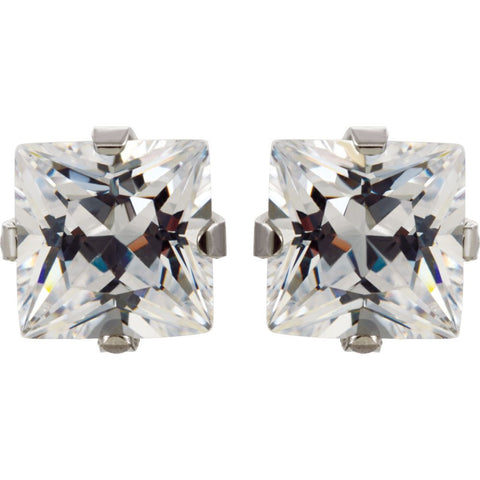 Stainless Steel 7mm Square Cubic Zirconia Piercing Earrings