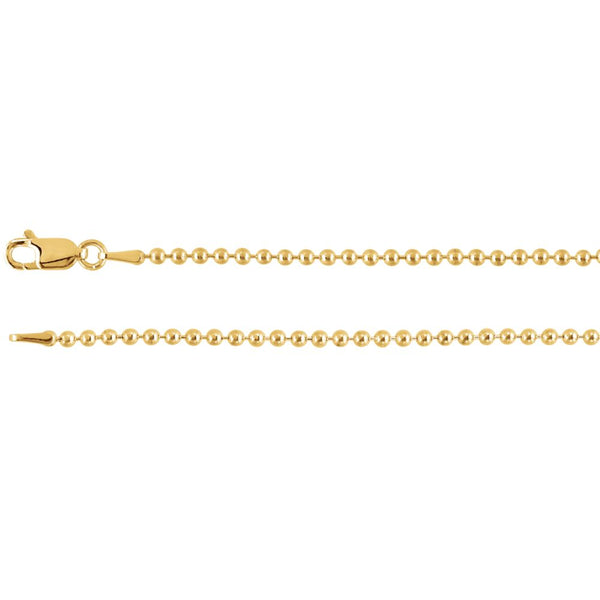 "14k Yellow Gold 2mm Bead 24"" Chain"