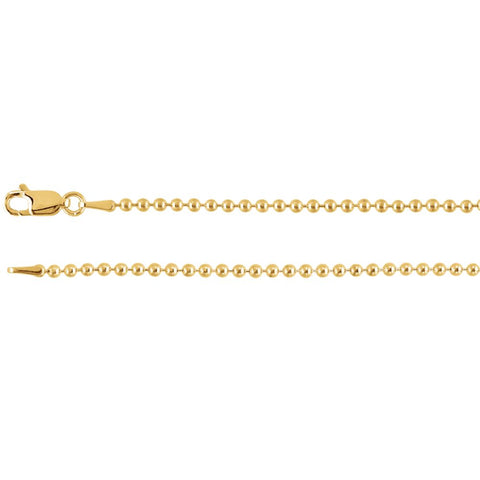 2 mm Bead Chain in 14k Yellow Gold ( 24 Inch )
