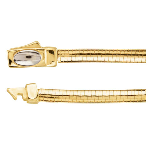 3 mm Two Tone Reversible Omega Chain in 14k White and Yellow Gold ( 18 Inch )