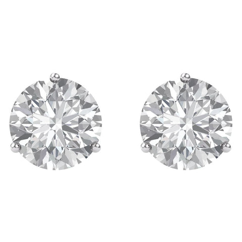 14k White Gold 6.5mm Round Forever Brilliant® Moissanite Earrings