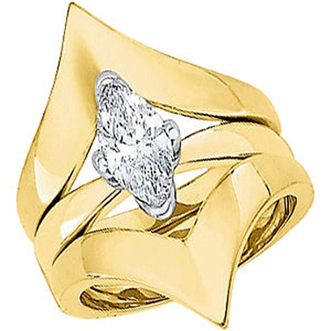 14k Yellow Gold Bridal Engagement Ring Set, Size 6