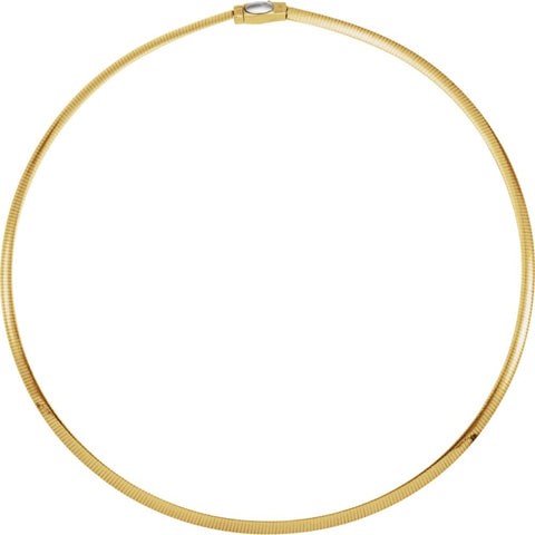 "14K Yellow & White 4mm Two-Tone Reversible Omega 16"" Chain"