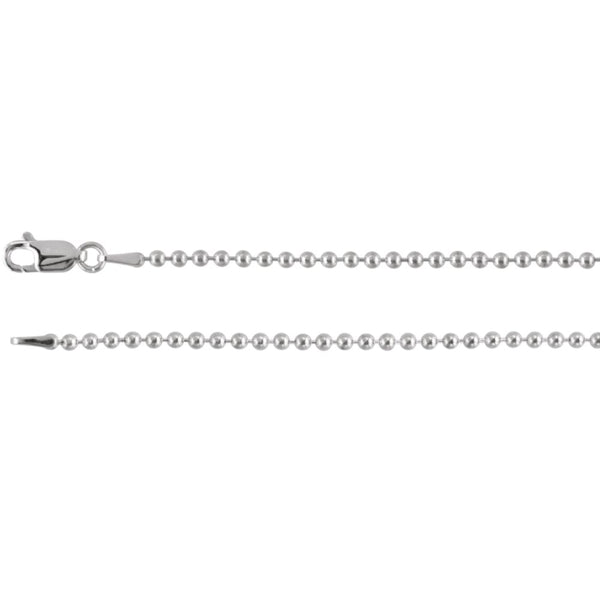 "14k White Gold 2mm Bead 24"" Chain"