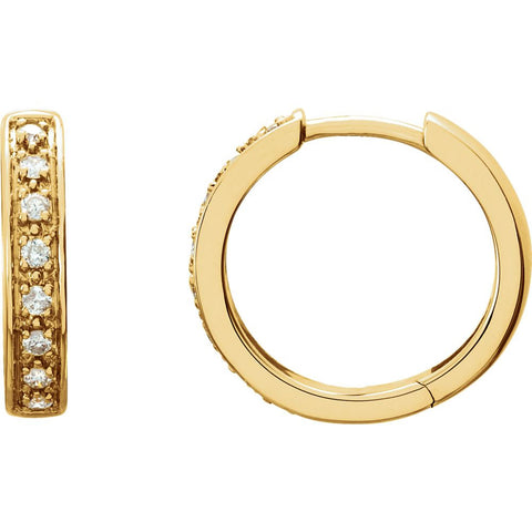 14k Yellow Gold 1/5 ctw. Diamond Hoop Earrings