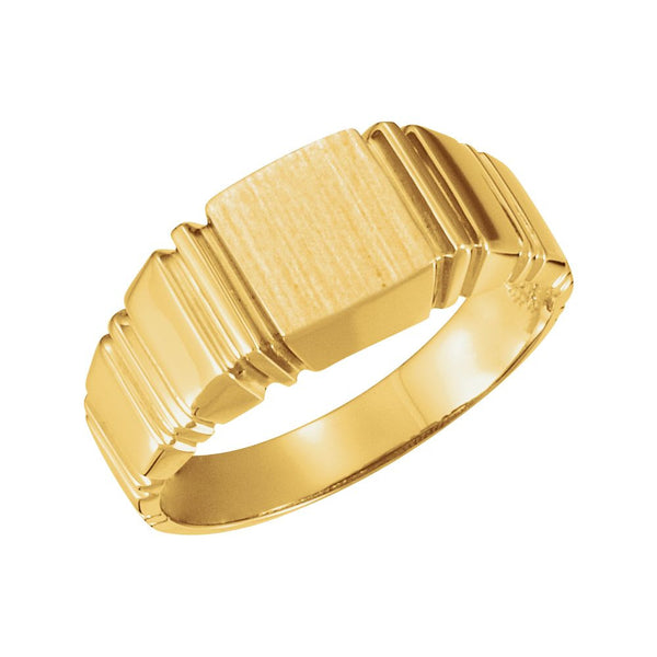 14k Yellow Gold 9mm Men's Square Signet Ring, Size 10
