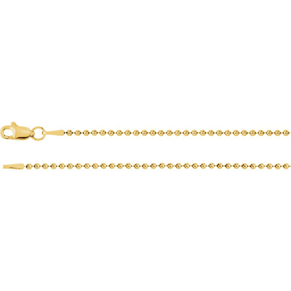 "14k Yellow Gold 1.5mm Bead 16"" Chain"