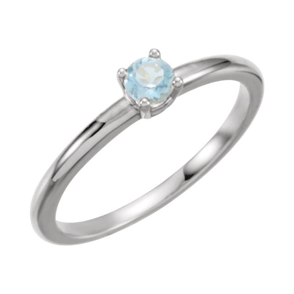 "Sterling Silver Imitation Blue Zircon ""December"" Youth Birthstone Ring, Size 3"