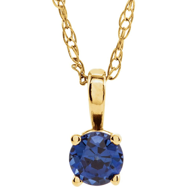 "14k Yellow Gold Chatham® Created Blue Sapphire ""September"" Birthstone 14"" Necklace"