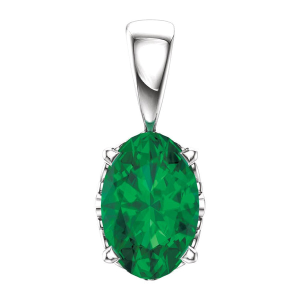 14k White Gold Chatham® Lab-Grown Emerald Pendant