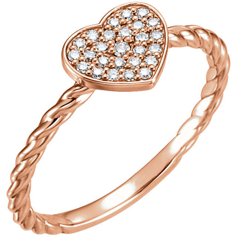 14k Rose Gold 1/8 CTW Diamond Heart Rope Ring, Size 7