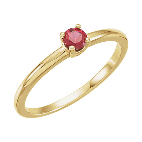"14k Yellow Gold Ruby ""July"" Kid's Birthstone Ring, Size 3"