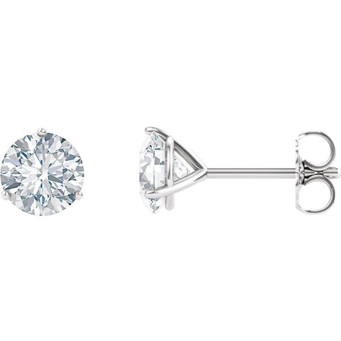 14K White Gold 6.5mm Round Forever Brilliant Created Moissanite 3-Prong Earrings