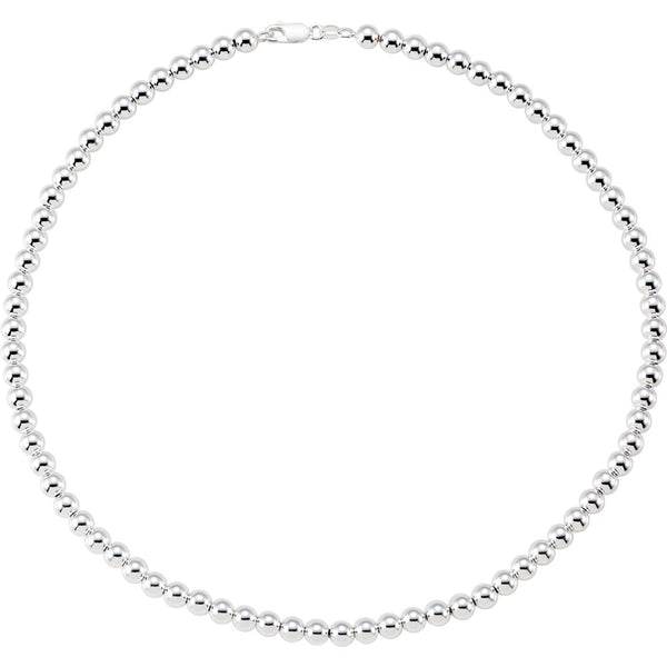 "Sterling Silver 6mm Hollow Bead 18"" Chain"