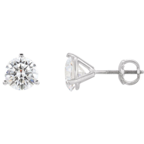 Pair of Genuine Moissanite 3 Prong Stud Earrings with Threaded Post in 14k White Gold