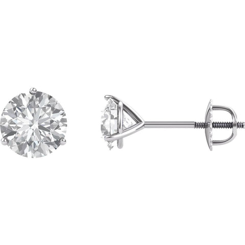 14K White Gold 6.5mm Round Forever Brilliant Created Moissanite 3-Prong Threaded Post Stud Earrings