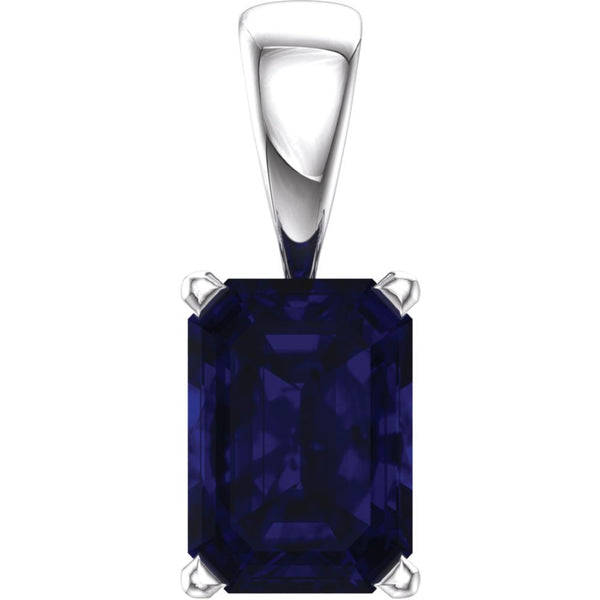 14k White Gold Chatham® Created Blue Sapphire Pendant