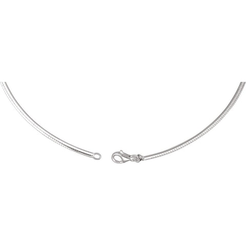 "Sterling Silver 2.6mm Reversible Omega Chain 16"" Chain"
