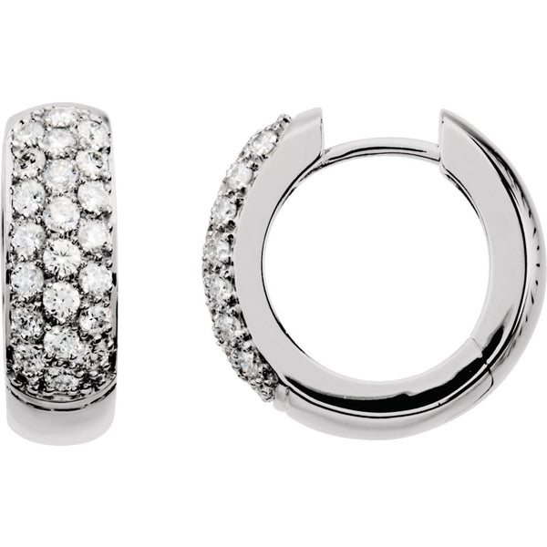 14k White Gold 7/8 CTW Diamond Hoop Earrings