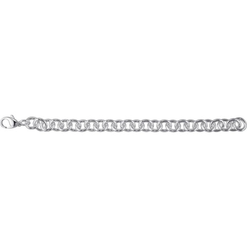"Sterling Silver 10mm Cable 8.5"" Bracelet"
