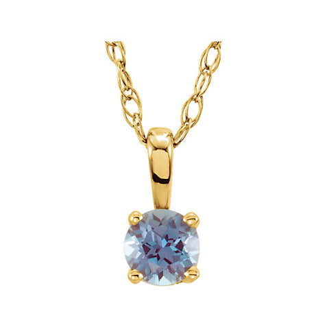 14K Yellow Gold Chatham« Created Alexandrite 14-Inch Necklace