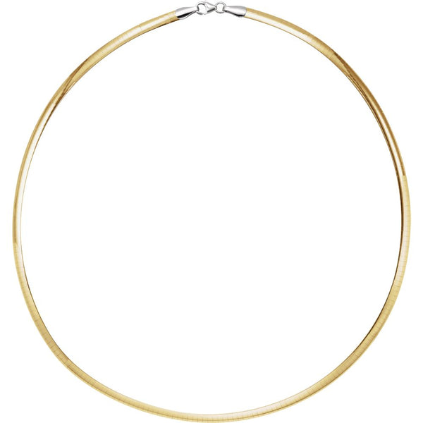"Sterling Silver & 14k Yellow Gold 4mm Reversible Omega 16"" Chain"