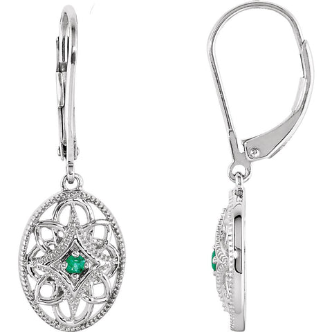 Pair of Decorative Gemstone Fashion Lever Back Earrings in Sterling Silver