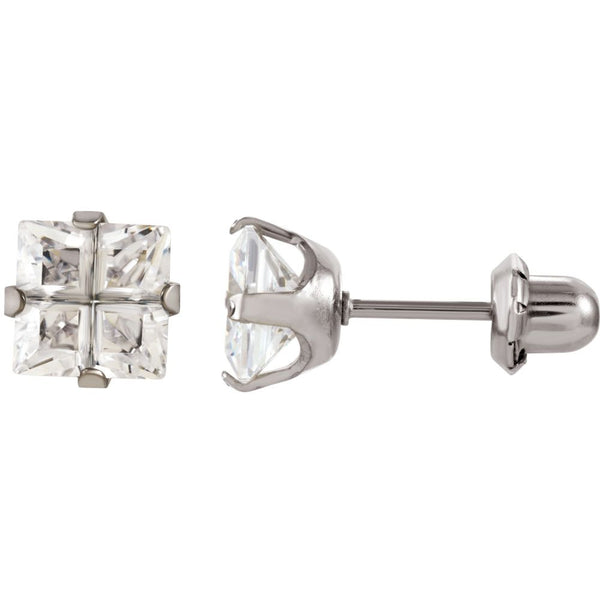 Stainless Steel 7mm Square Cubic Zirconia Inverness Piercing Earrings