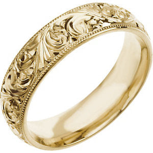6 mm Hand-Engraved Wedding Band Ring in 14k Yellow Gold (Size 10 )