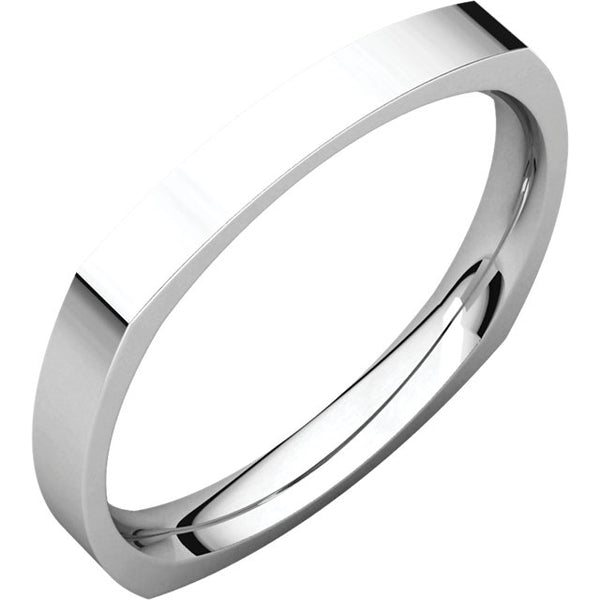 14k White Gold 2.5mm Square Comfort Fit Band, Size 6.5