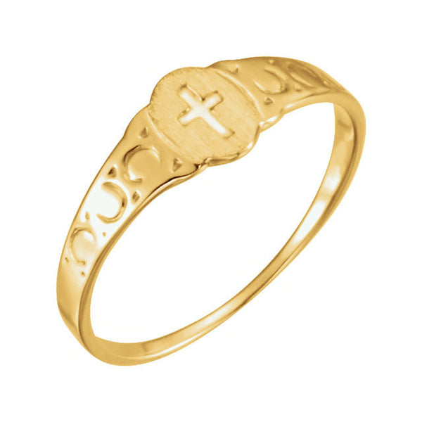 14k Yellow Gold Youth Signet Ring with Cross Size 3