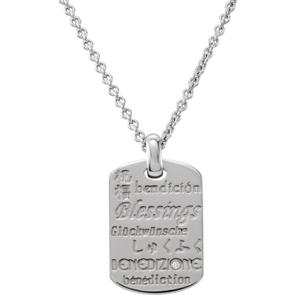 "Sterling Silver .010 CTW Diamond Blessings 18"" Necklace"
