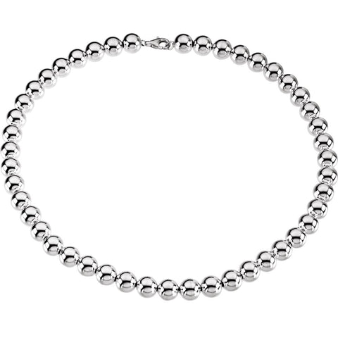 "Sterling Silver 10mm Bead 18"" Chain"
