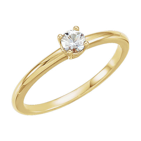 "14k Yellow Gold 1/10 ctw. Diamond ""April"" Kid's Birthstone Ring, Size 3"