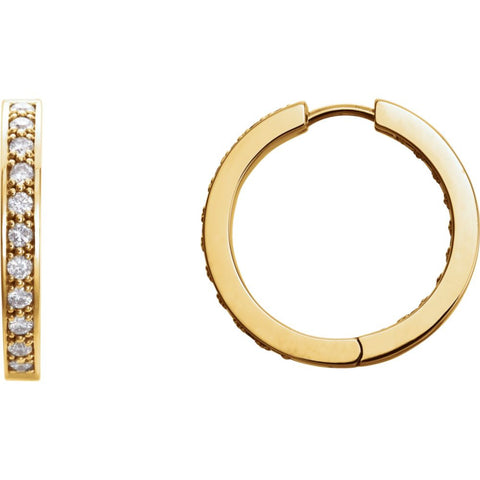14k Yellow Gold 3/4 ctw. Diamond Hoop Inside/Outside Earrings