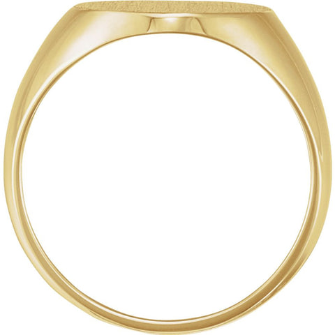 18k Yellow Gold 14x12mm Solid Oval Men's Signet Ring, Size 11