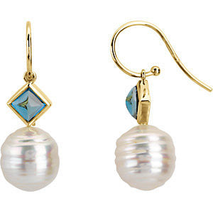 Elegant and Stylish Pair of 05.00 MM and 11.00 MM South Sea Cultured Pearl and Genuine London Blue Topaz Earrings in 14K White Gold, 100% Satisfaction Guaranteed.