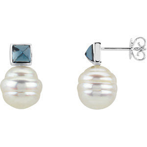 Elegant and Stylish Pair of 05.00 MM and 11.00 MM South Sea Cultured Pearl and Genuine London Blue Topaz Earrings in 14K Yellow Gold, 100% Satisfaction Guaranteed.