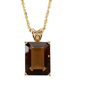 16X12 MM, 18 inch Genuine Smoky Quartz Necklace in 14K Yellow Gold