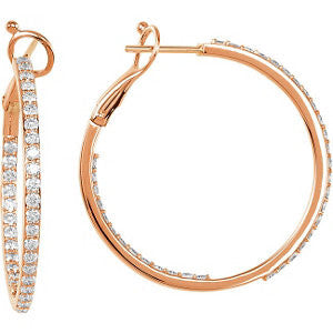 14k Rose Gold 1 1/3 CTW Diamond Inside/Outside Hoops