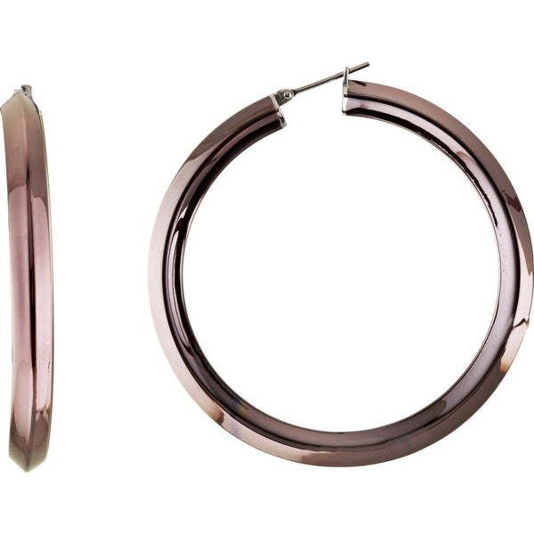 Stainless Steel 50mm Knife Edge Hoop Earrings with Chocolate Immerse Plating