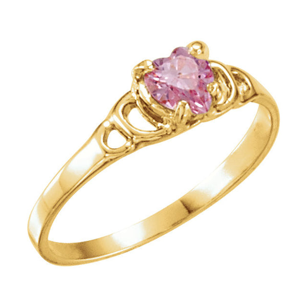 14k Yellow Gold Pink Heart Cubic Zirconia Youth Ring Size 3