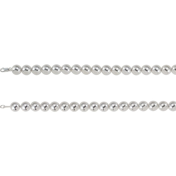 "Sterling Silver 14mm Bead 8"" Chain"
