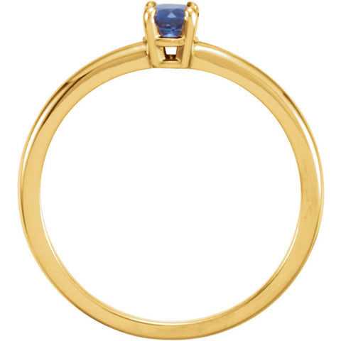 "14k Yellow Gold Blue Sapphire ""September"" Youth Birthstone Ring, Size 3"