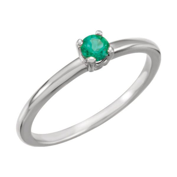 "Sterling Silver Imitation Emerald ""May"" Youth Birthstone Ring, Size 3"