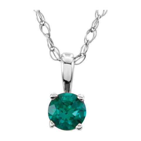 "14k White Gold Chatham« Created Emerald ""May"" Birthstone 14-inch Necklace"