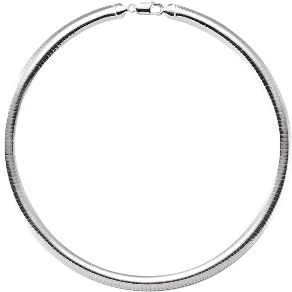 "Sterling Silver 7.25mm Domed Omega 16"" Chain"